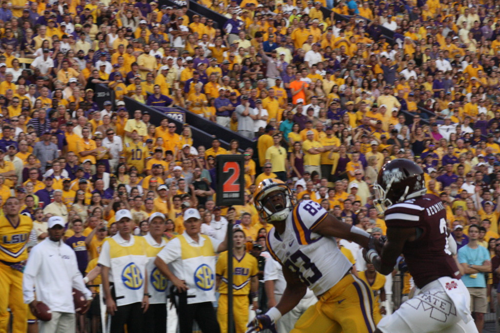 Some pass interference on the MSU cb as LSU Dural gets held.
