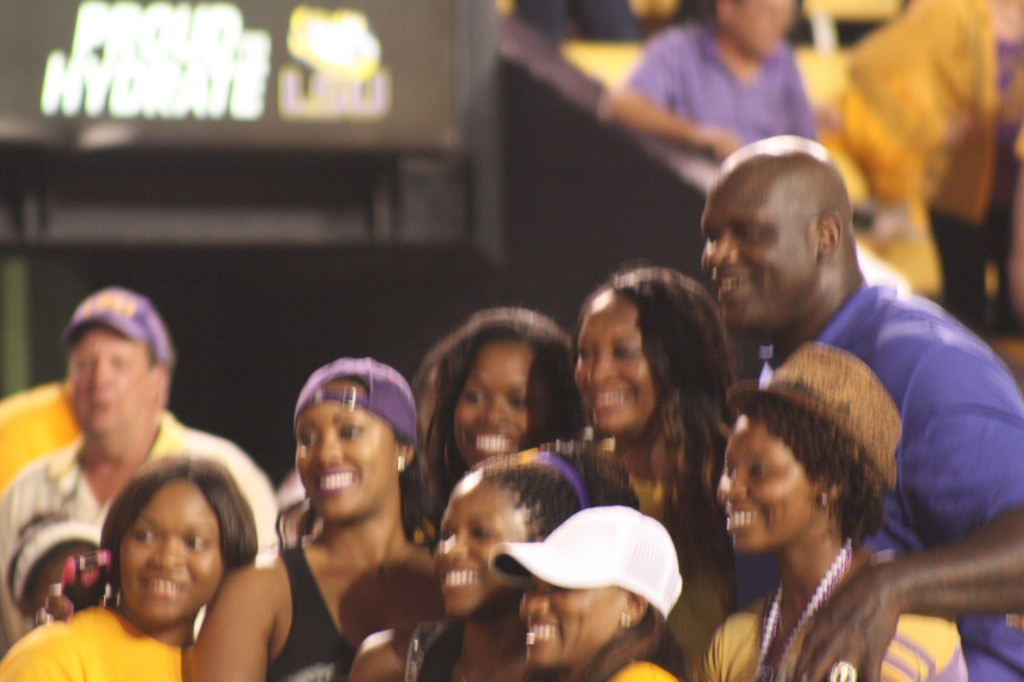 There is a siting of Shaq at Tiger Stadium.