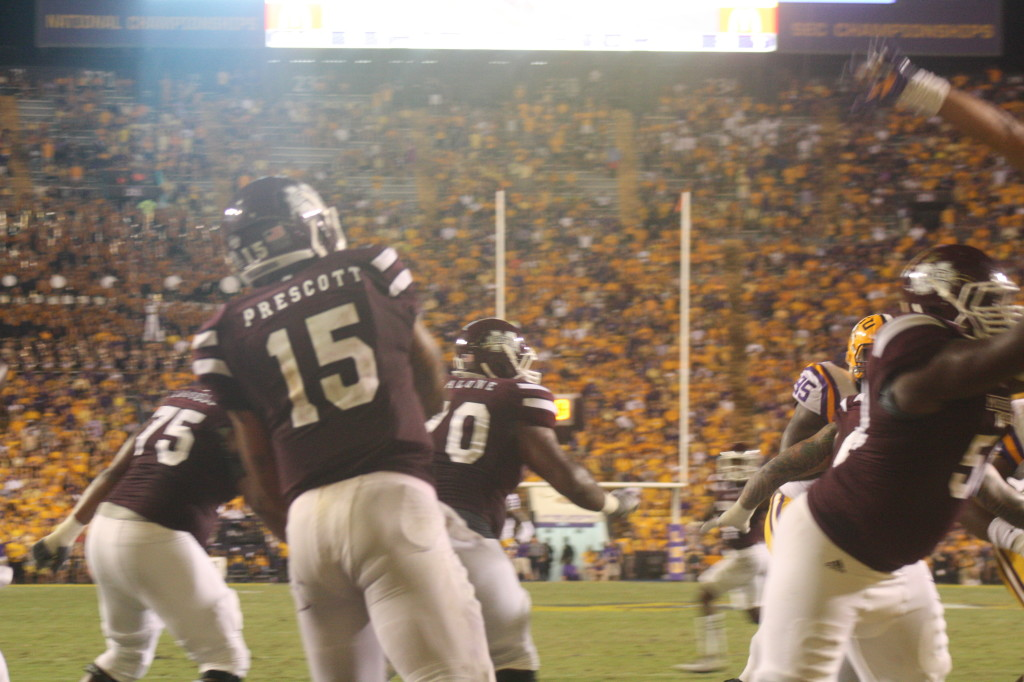 MSU qb Prescott had alot of protection the whole night.