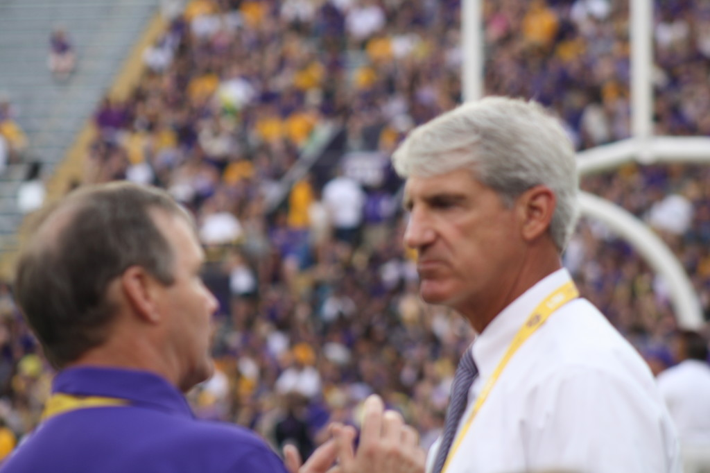 LSU AD Joe Alleva on the sidelines before the New Mexico State Game.