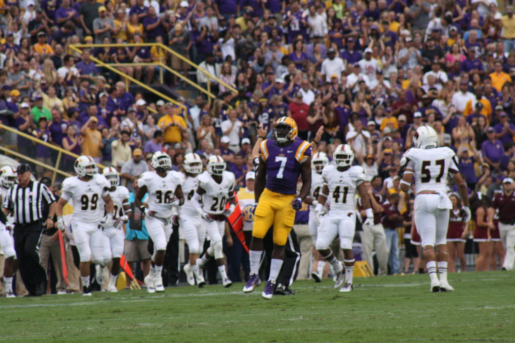 LSU Fournette caps off the opening kickoff return for about 40 yards.