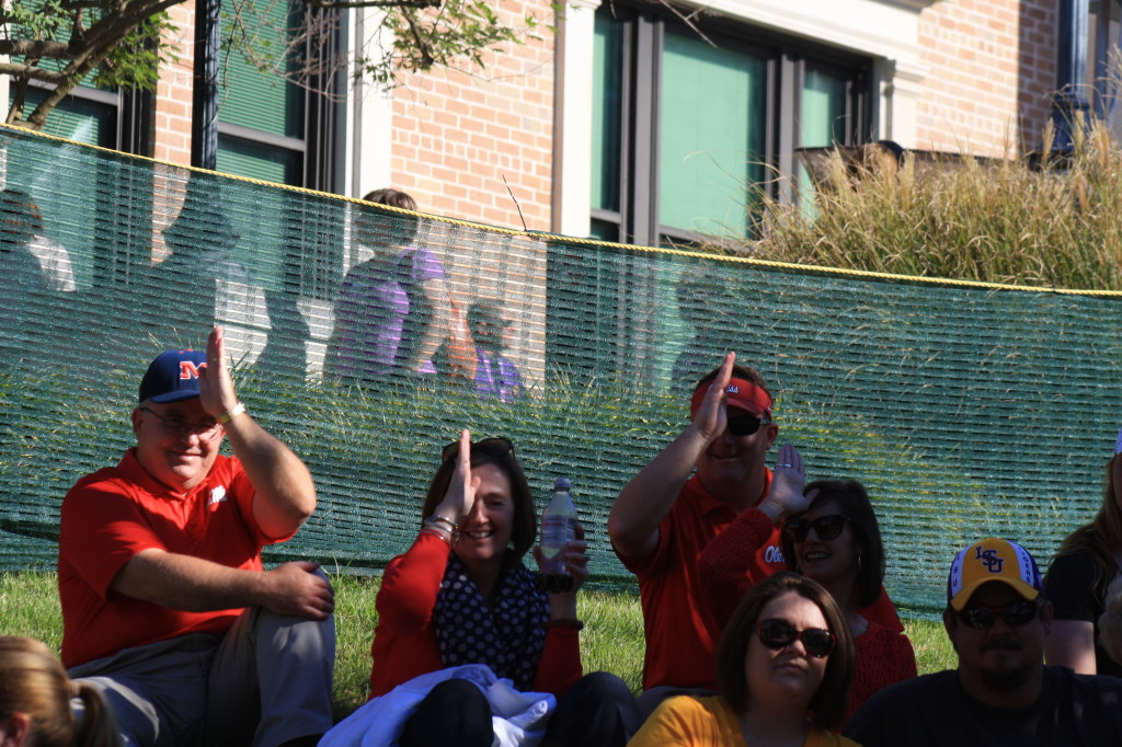 A group of Ole Miss fans who were showing us the land shark signs before the game.