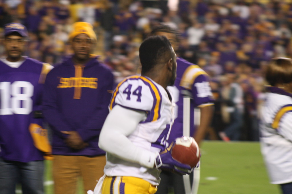NO.44 Tre' Sullivan running out for Senior Day for the Tigers.