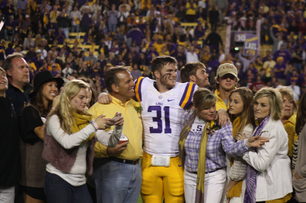 LSU D.J. Welter celebrating LSU Senior Day with his family.