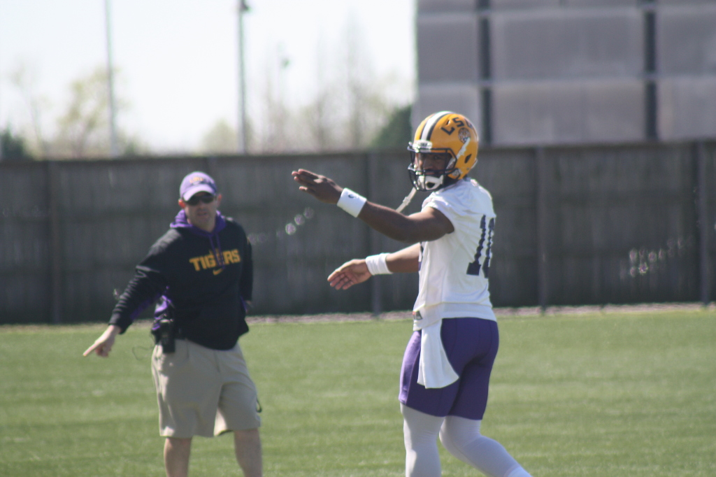 Coach Miles says QB Jennings is feeling very comfortable about the LSU Offense and expects big things from the Georgia native.