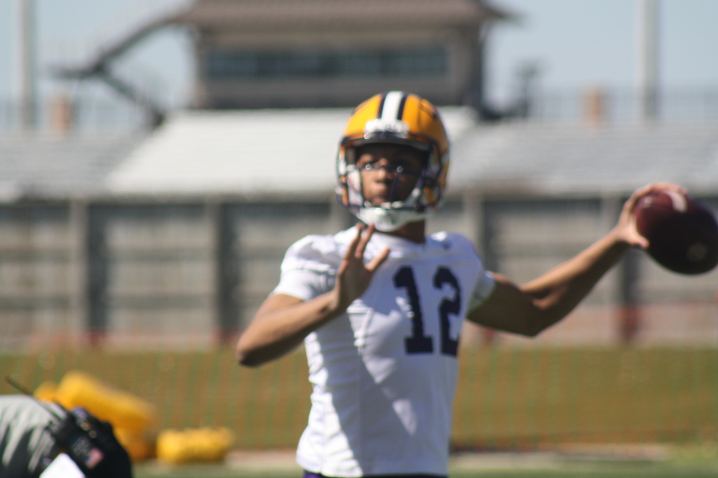 True freshman backup qb McMilllan gets some reps in during the 1st LSU Spring Practice 2015.