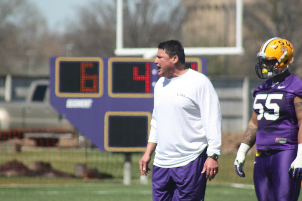 Coach O geting alittle loud with the defense. I believe the the D Line will be LSU's bread and butter this year, they will have quite a few sacks and stop the runners behind the line of scrimage.