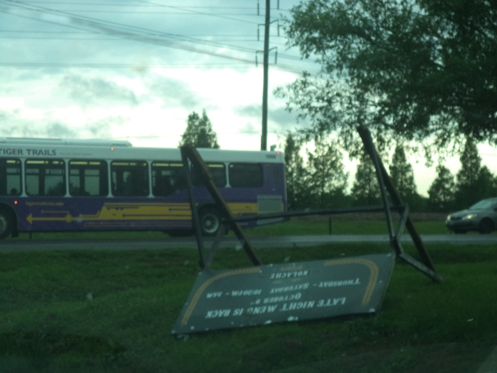 Kolaches sign by LSU Tigerland gets tumble over during the storm.