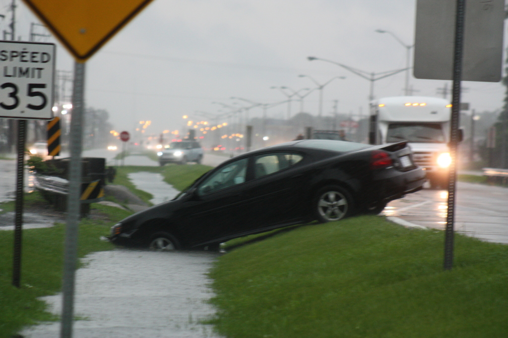 A car that drove in the ditch off Florida Blvd, Baton Rouge,La