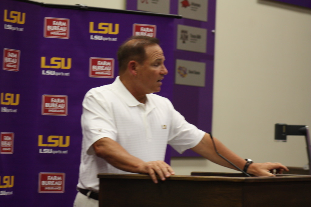 Coach Miles talking to the media before media day.
