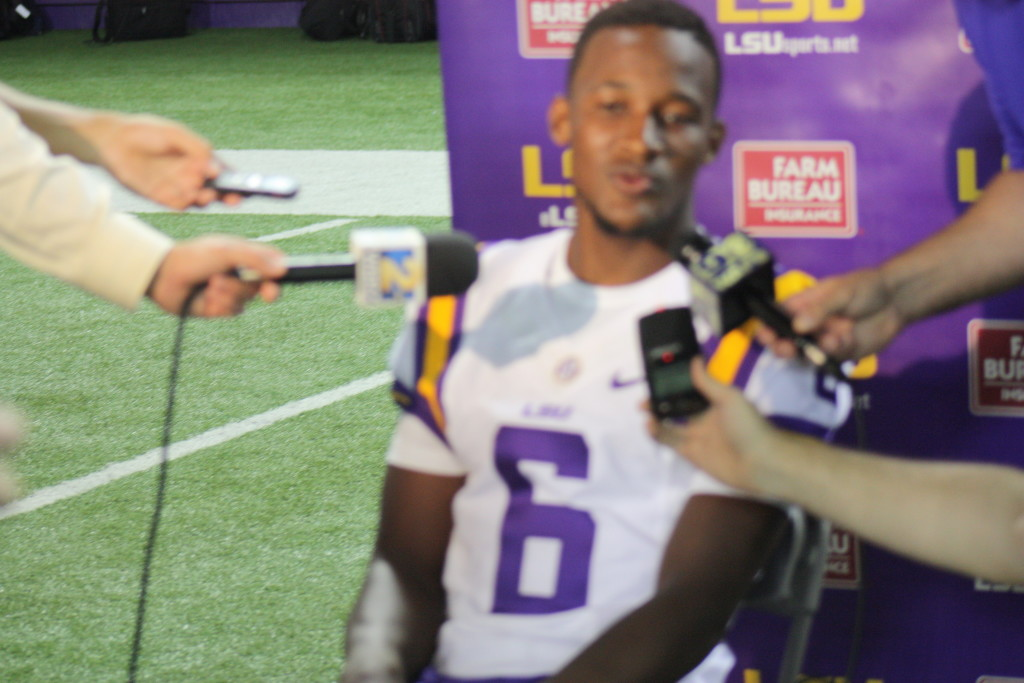 LSU QB Brandon Harris getting alot of questions and attention.