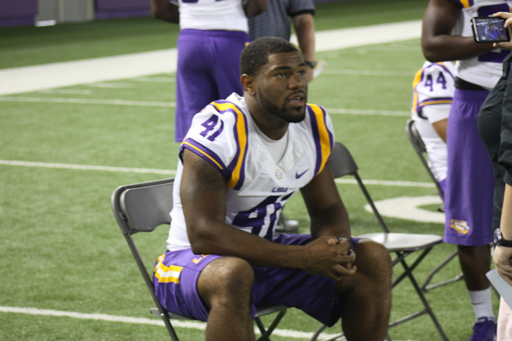 LSU David Ducre sitting down with the media.