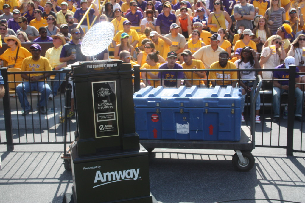 The National Championship Trophy paid a visit to Death Valley in Baton Rouge,La