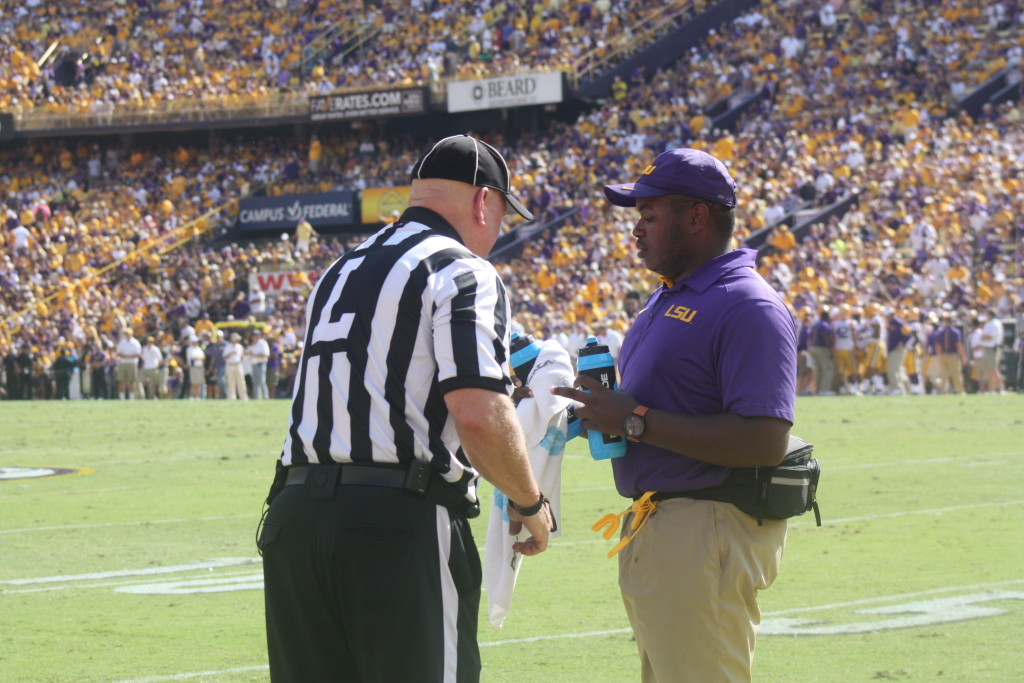 Theref even needsa water break, it was 117 degrees on the field at Tiger Stadium for a day game.