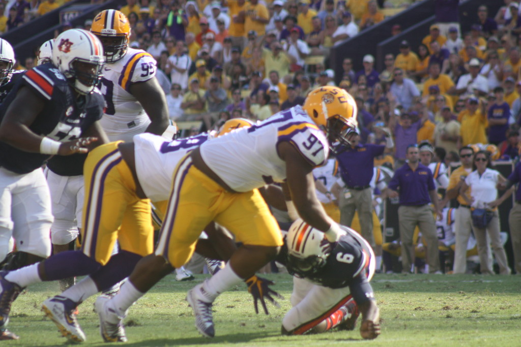 LSU Herron going after the loose ball.
