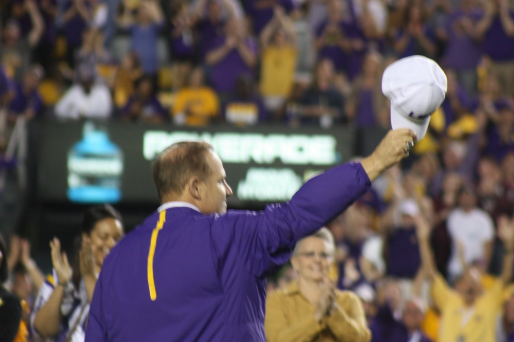 LSU Les Miles getting a standing ovation from the LSU Crowd at Tiger Stadium.