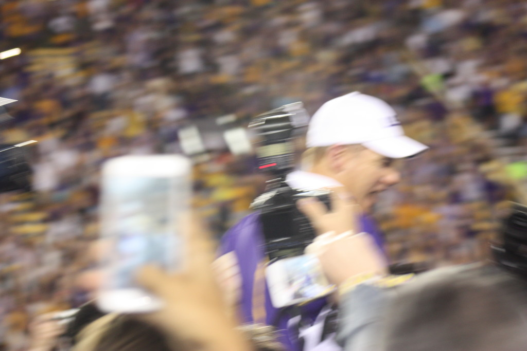 Coach Miles is very excited about the win over Texas AM.