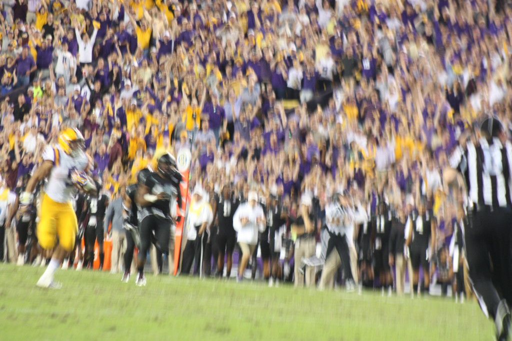 LSU Darius Geise broke open the game with this long toucdown run.